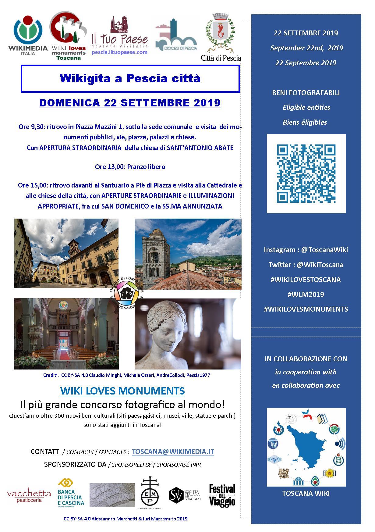 Wiki Loves Monuments a Pescia il 22 settembre!
