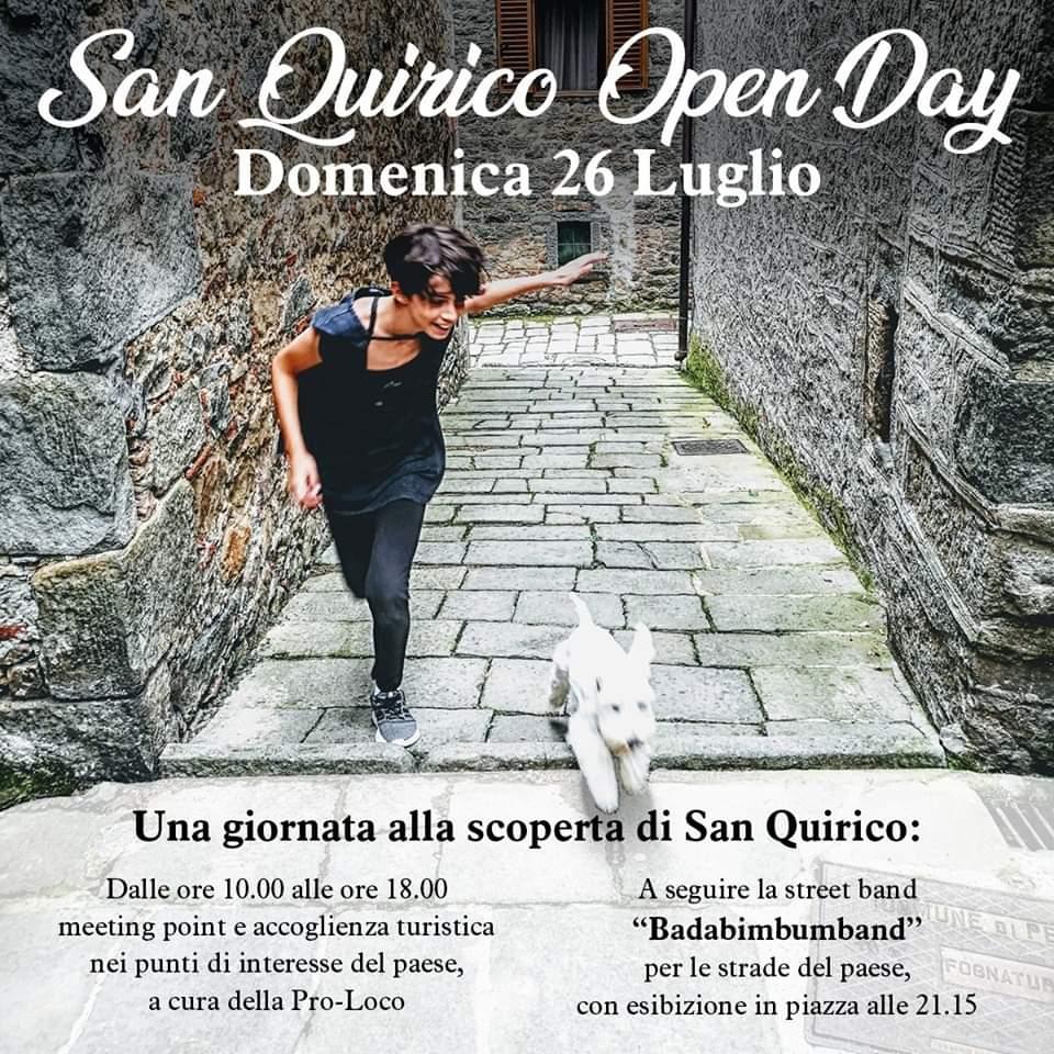 San Quirico Open Day Domenica 26/7: benvenuti visitatori!